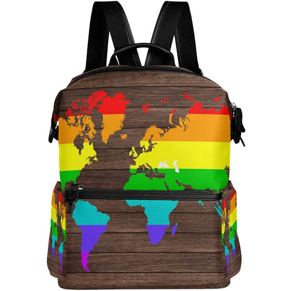 Rainbow Wooden Map Backpack