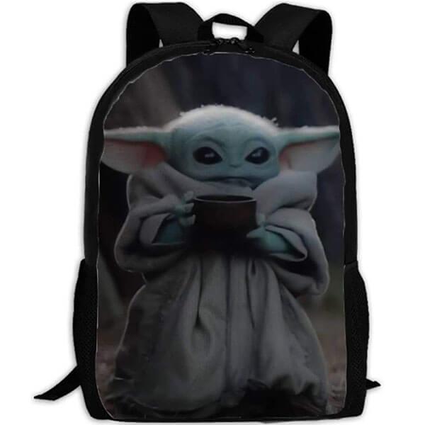 Black Baby Yoda with Mug Backpack