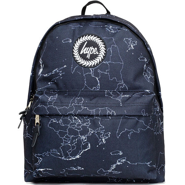 Blue Colored Map Backpack for School