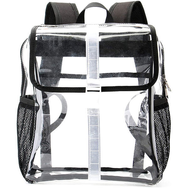 Clear PVC Bookbag with Reflective Stripes