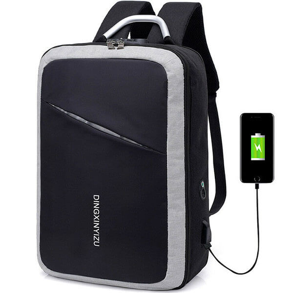 Dual Combination Lock Reflective Backpack with USB Port