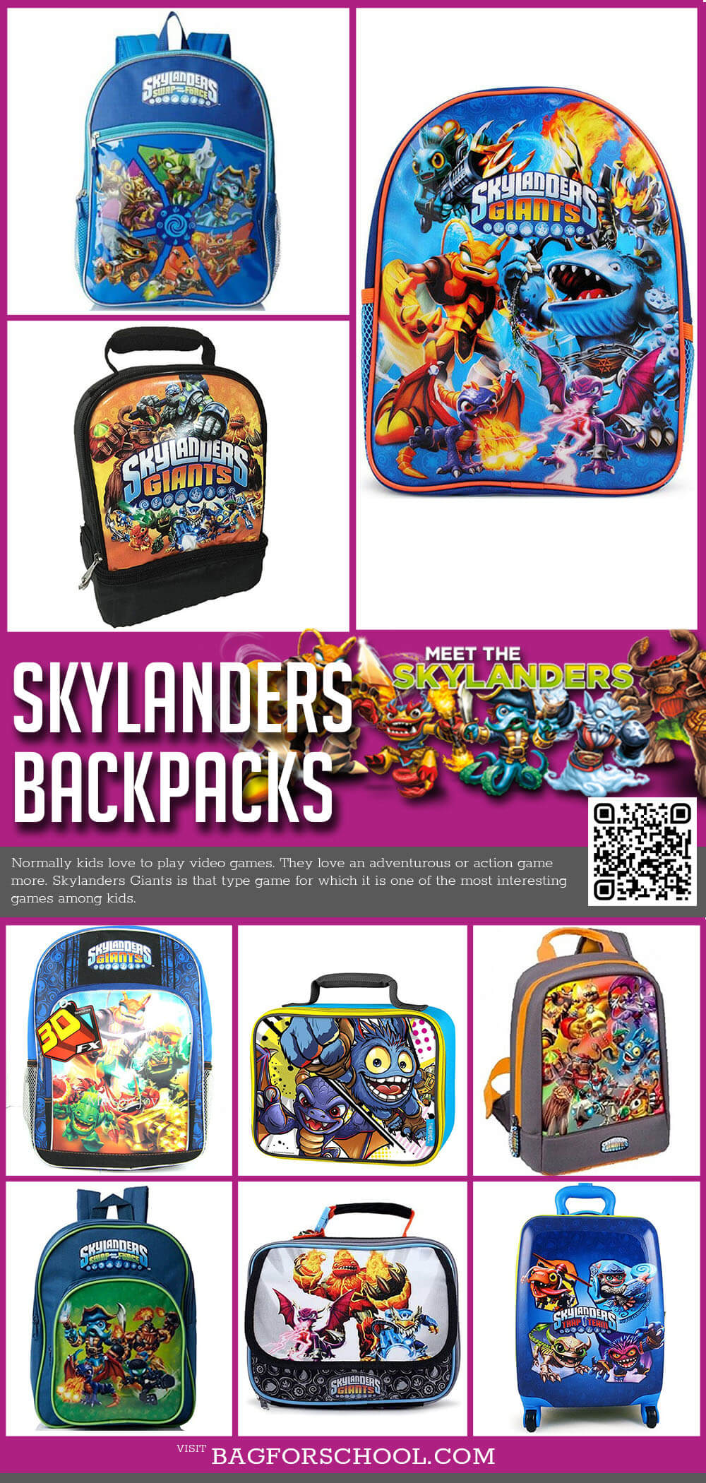 Skylanders Giants Backpacks