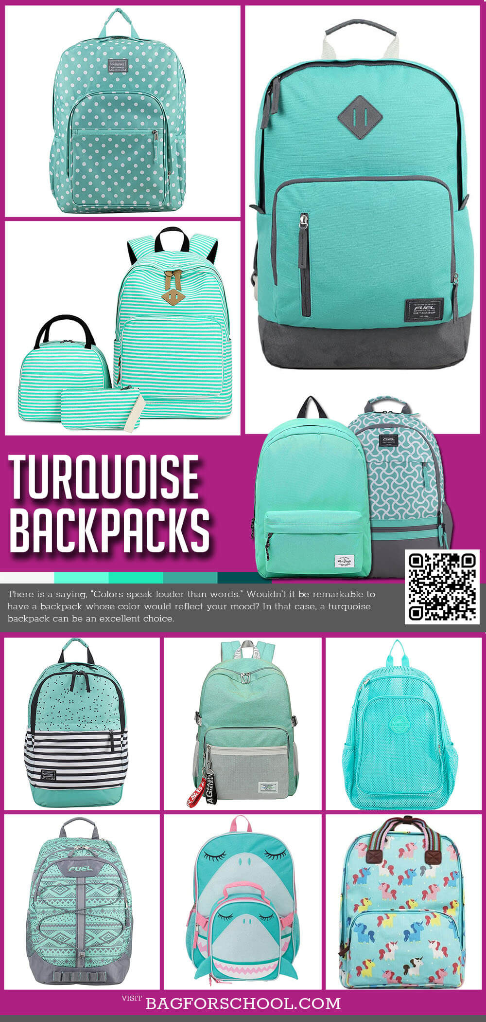 Turquoise Backpacks