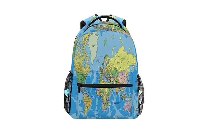 World Map Backpacks