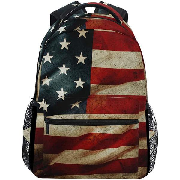 Waterproof USA Flag Retro Grunge Backpack