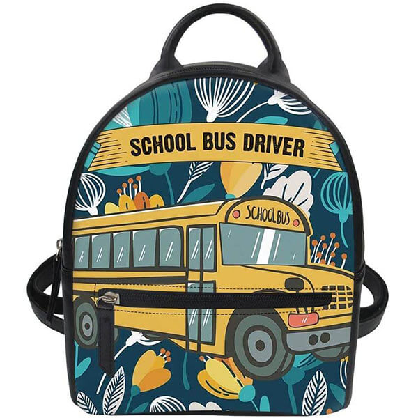 Water Resistant PU Leather School Bus Backpack
