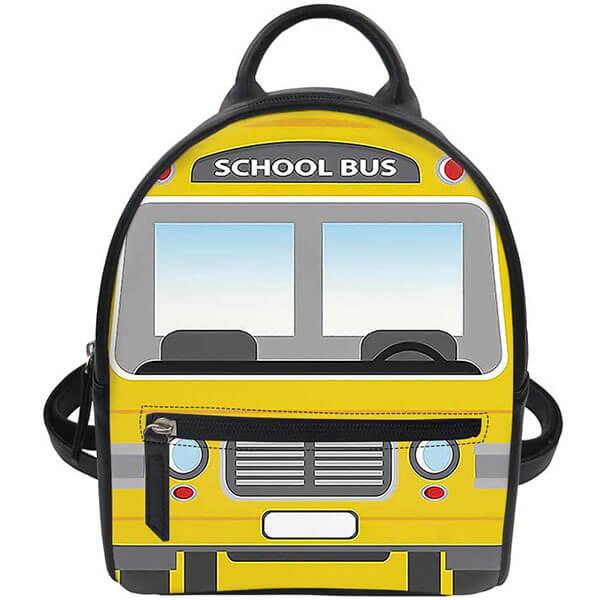Eye-Catching Women Leather School Bus Backpack