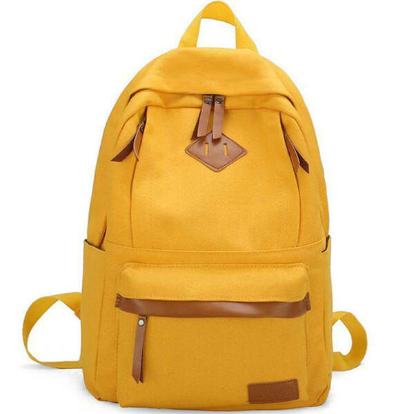Leather Lined Yellow Laptop Backpack