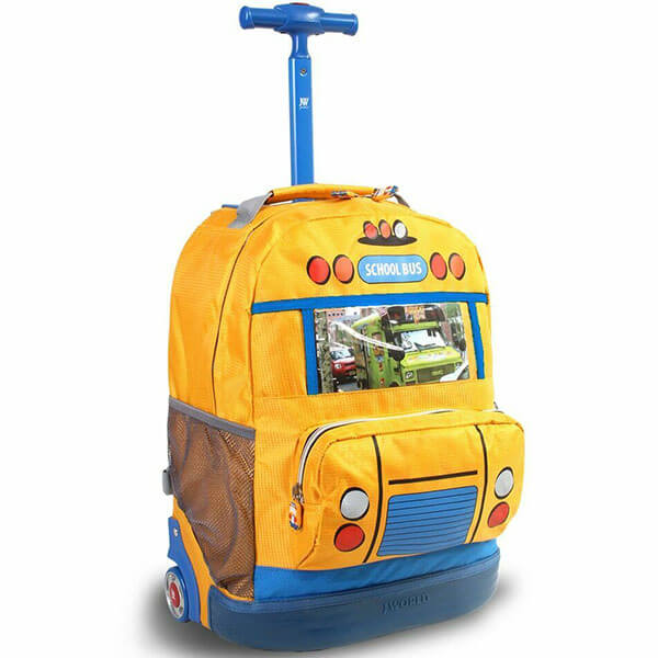 Modern Kids School Bus Rolling Backpack