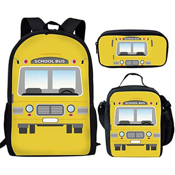 3 in 1 Attractive Elementary School Bus Backpack Set