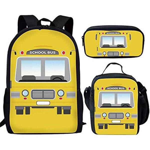 3 in 1 Attractive Elementary School Bus Backpack Set
