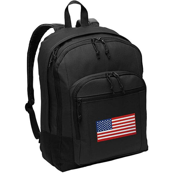 American Flag Black Backpack with Laptop Sleeve