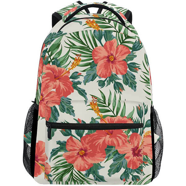 Plumeria And Hibiscus Print Backpack