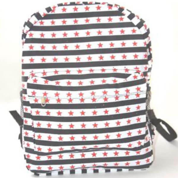 Black and White Striped Stars Backpack