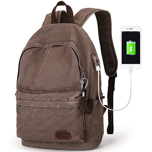 Canvas Multipurpose Backpack with Charging Port