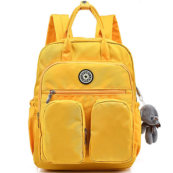 Cotton Canvas Yellow Colored Travel Backpack