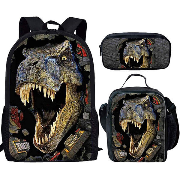 Dinosaur Pattern 3D Backpack Set