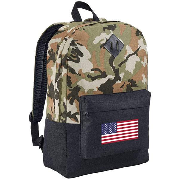 USA Flag Camo Designed Black Backpack