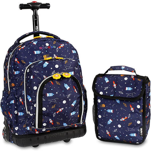 Rolling Super Cosmos Backpack with Lunch Bag