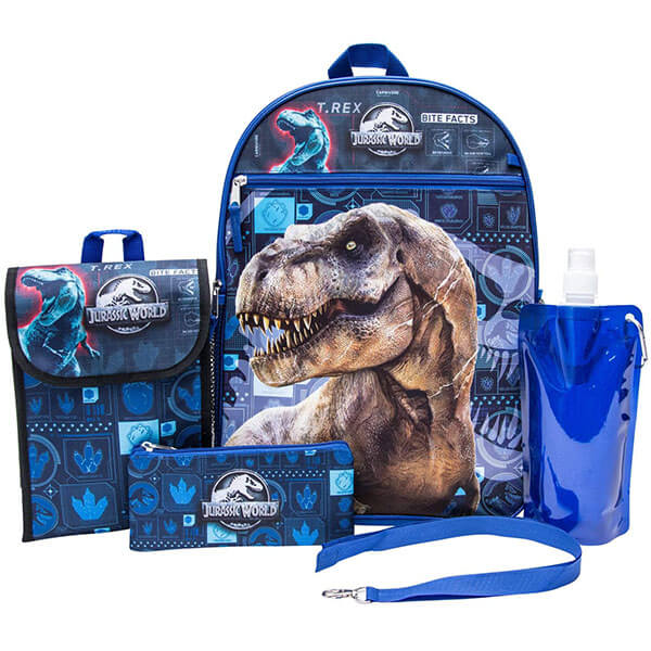Blue Colored 6 Piece Dinosaur Backpack Set