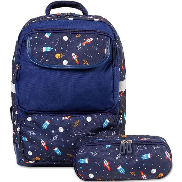 Deep Blue Spaceship Backpack with Pencil Case