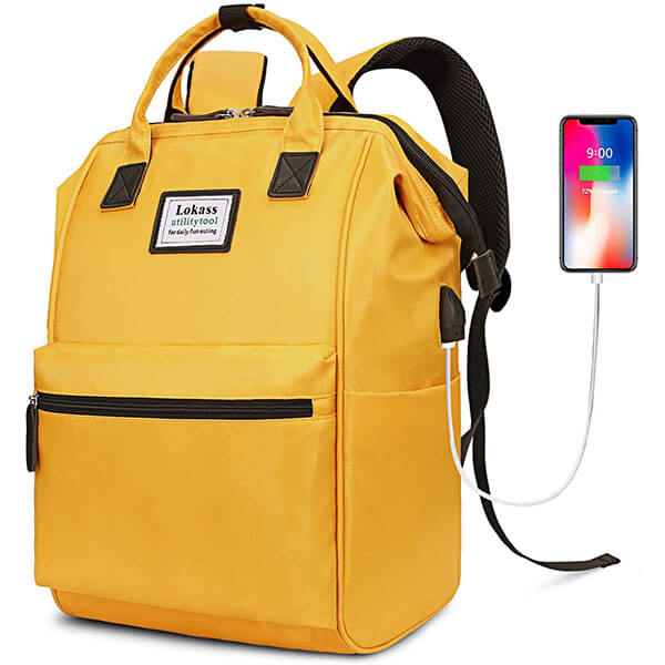 Rectangular Yellow Casual Nylon Backpack