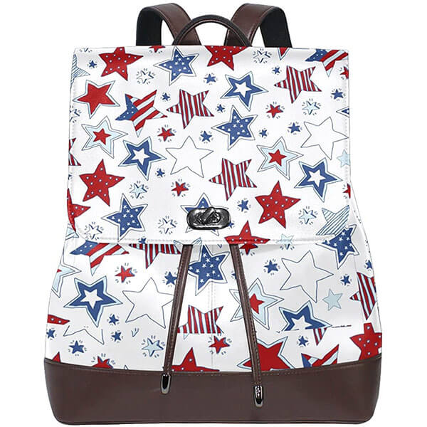 USA Flag Designed Starry PU Leather Daypack