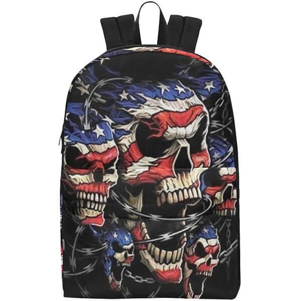Waterproof Nylon American Flag Skull School Backpack