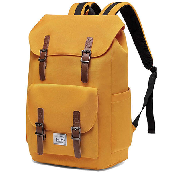 Yellow Vaschy Laptop Backpack with Drawstring