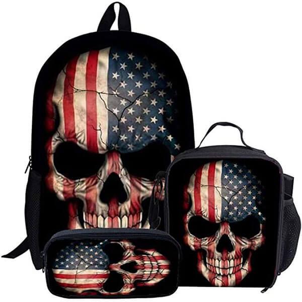 3 in 1 USA Flag Skull Canvas Backpack Set