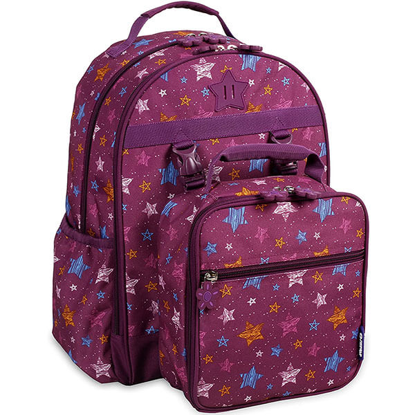 Maroon Stars Backpack Set with Lunch Bag