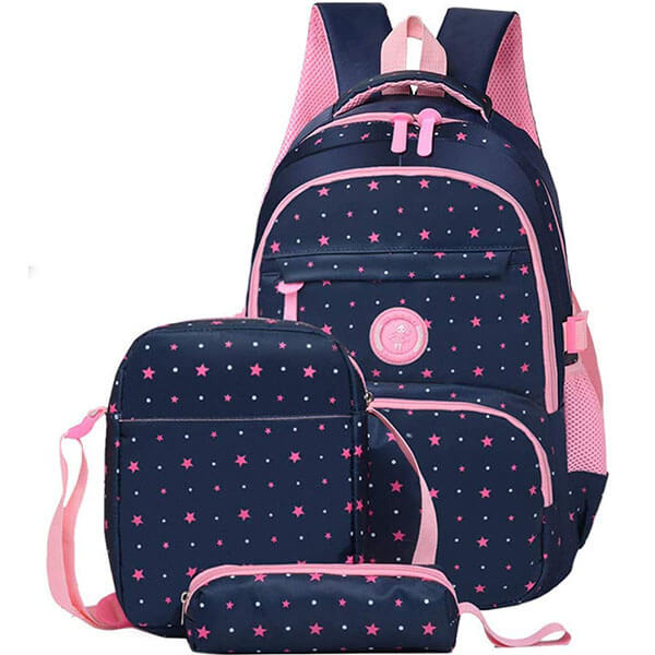 3 in 1 Multi-Colored Stars Backpack Set