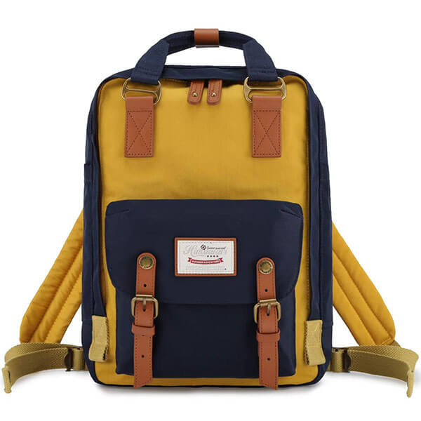 Leather Decorated Blue and Yellow Backpack