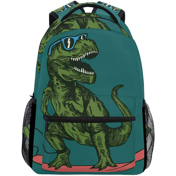 Cool Dinosaur in Skateboard Backpack