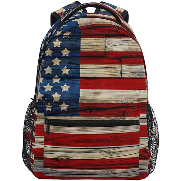 USA Flag Wooden Style Waterproof Backpack