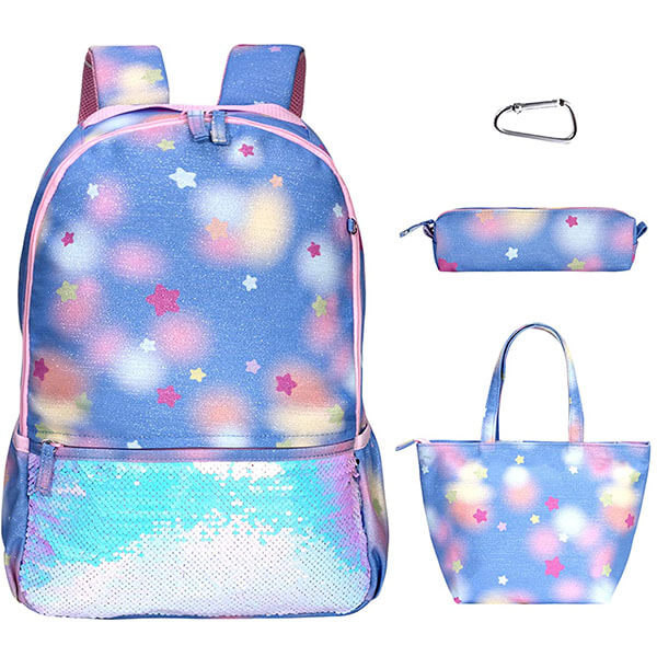 Water-Resistant Polyester Stars Backpack Set