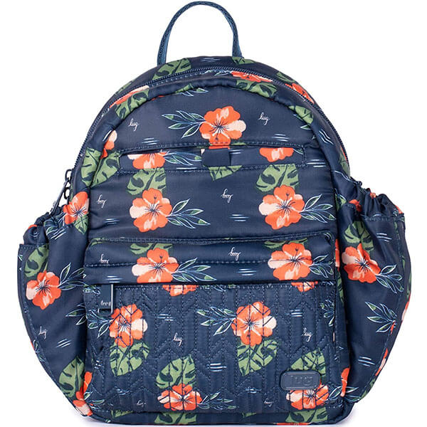 Hawaiian Mini Backpack with Navy Floral Print