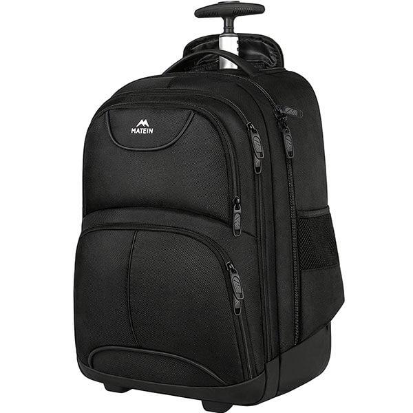 Matein-Matte Black Rolling Backpack