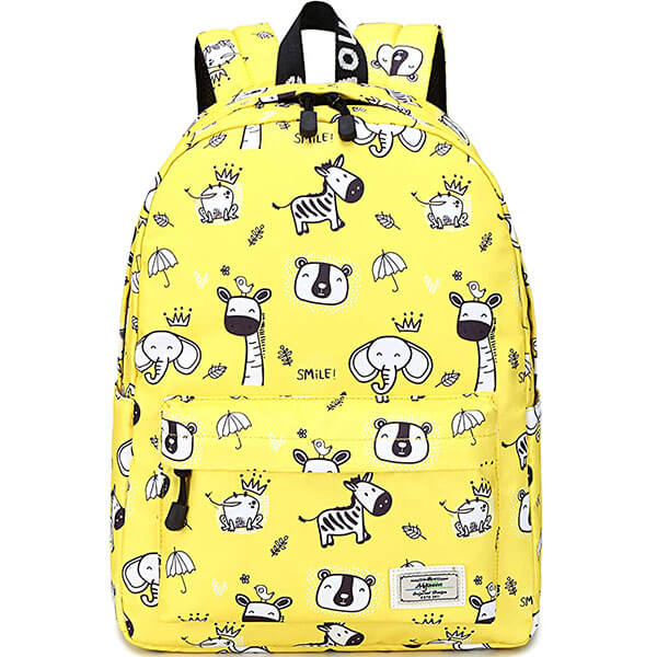 Cute Animal Printed Yellow Backpack