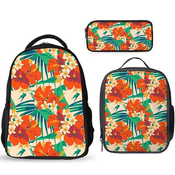 Yellow Orange Floral Hawaiian Backpack set