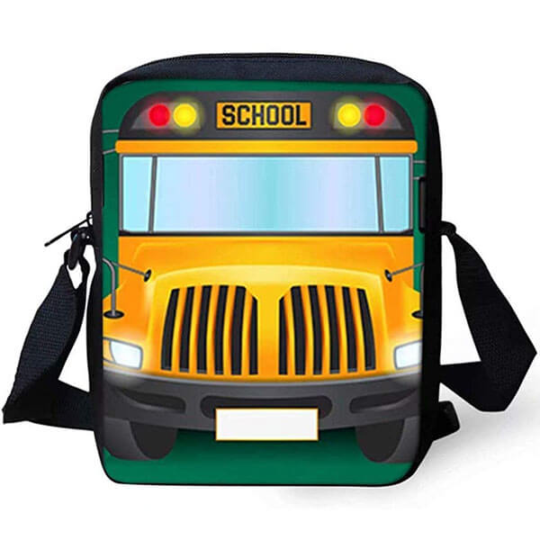 School Bus Cartoon Printed Messenger Backpack