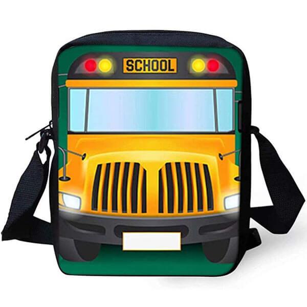 School Bus Cartoon Printed Messenger Backpack