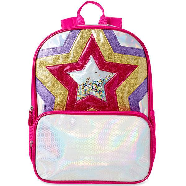 Glittering Pink Stars Backpack for Girls