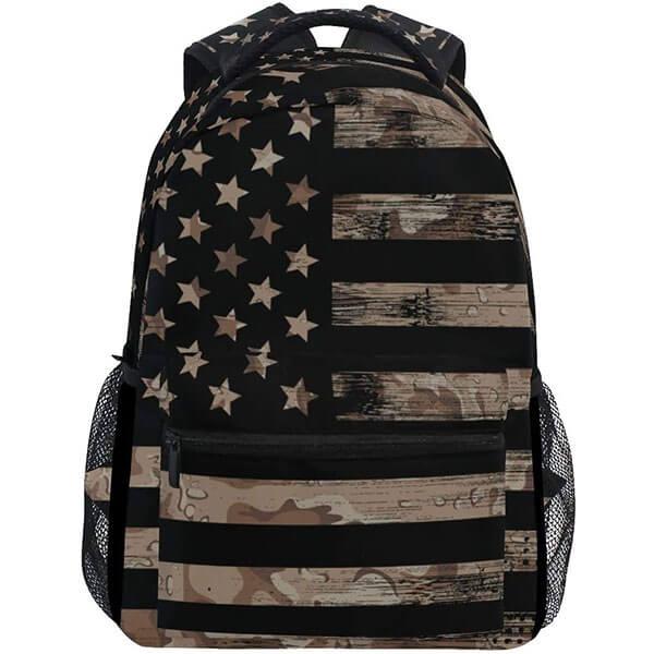 USA Flag Black Printed School Backpack