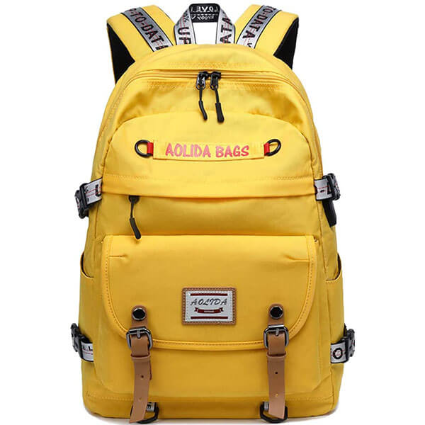 Bright Yellow School Backpack with USB Port