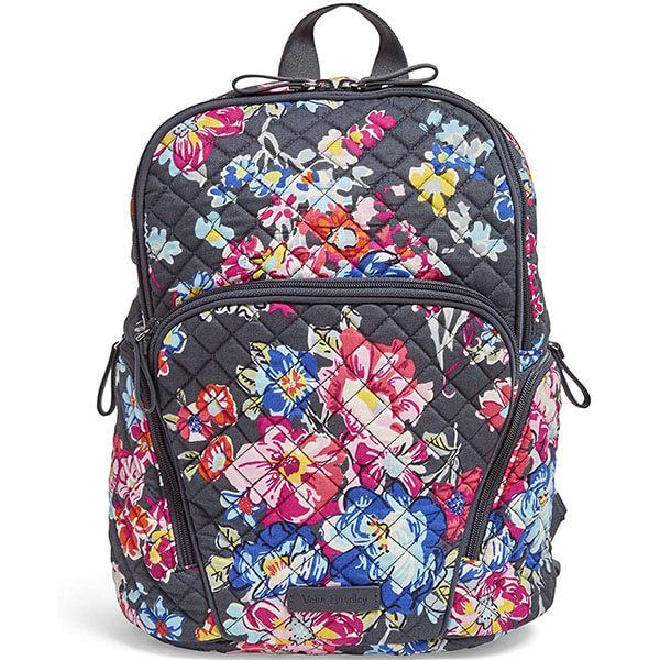 Micro-Square Diamond Stitch Cotton Backpack