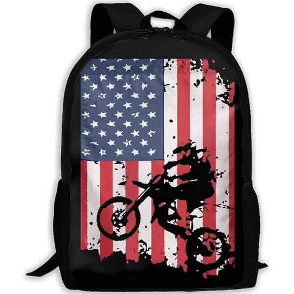 Motorbike Designed Oxford Backpack with USA Flag Prints
