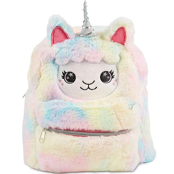 Rainbow Unicorn Plush Faux Fur Backpack
