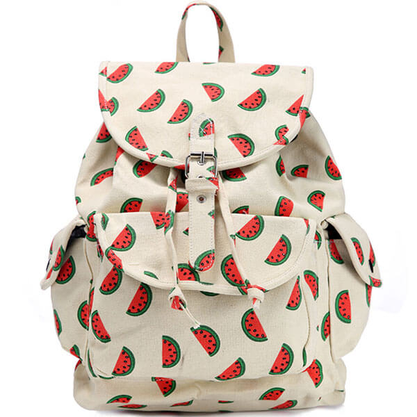 White Base Fruit Themed Canvas Backpack