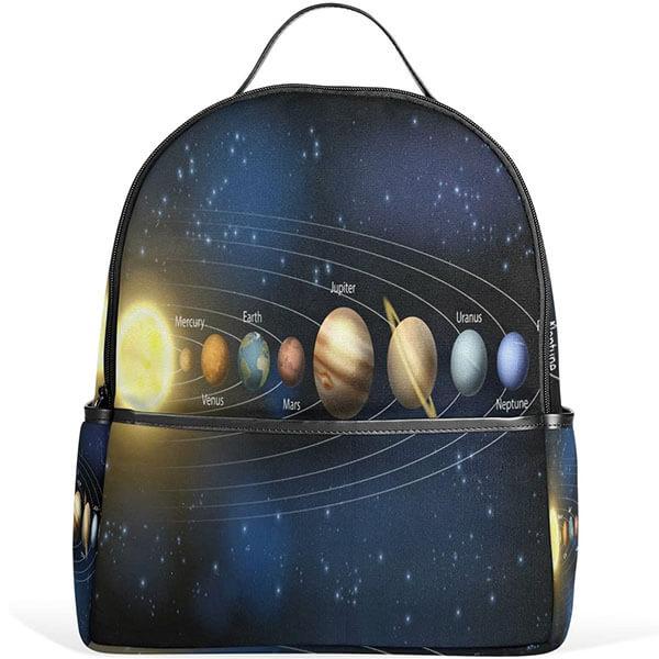 Blue Polyester Solar System Laptop Backpack